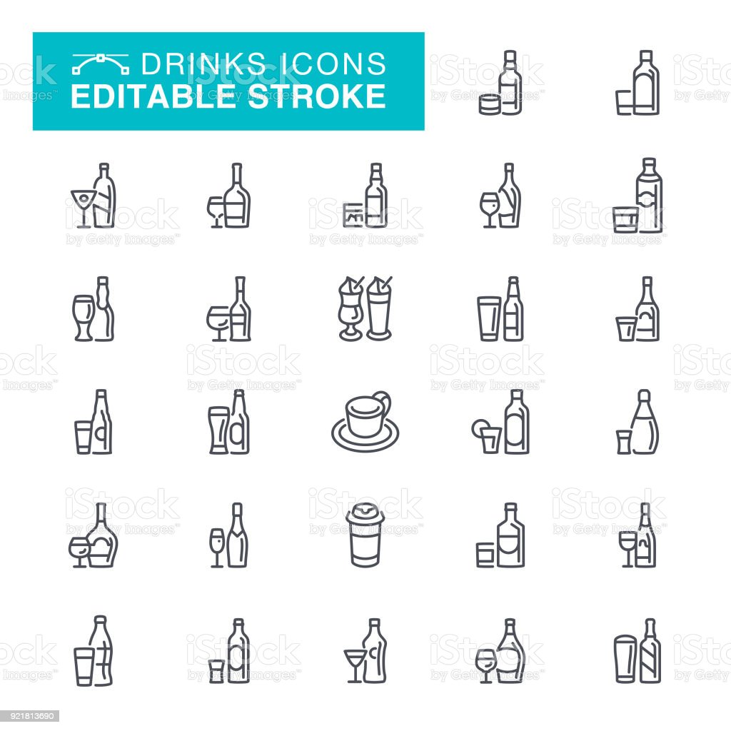 Drinks Alcohol Icons Editable Stroke Icons vector art illustration