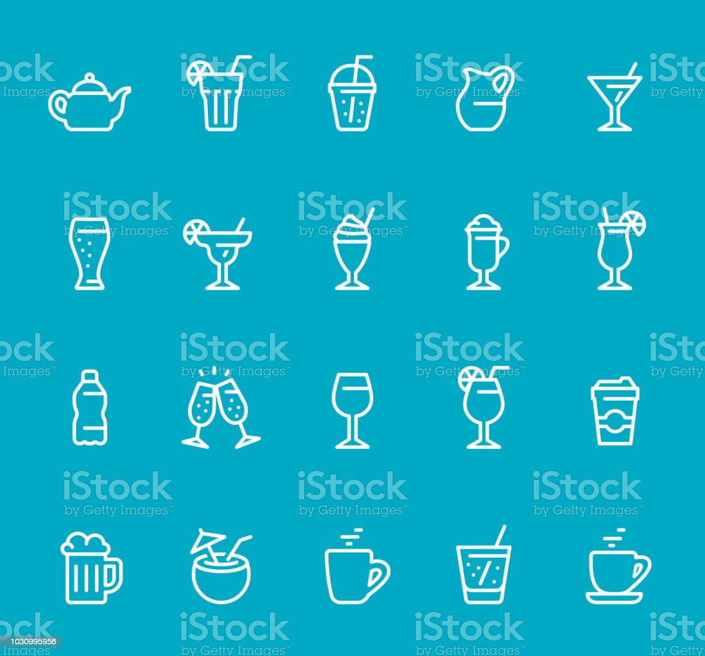 Drinks & Alcohol - line icon set vector art illustration