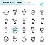 20 Outline Style - Black line - Drinks & Alcohol Pixel Perfect icons / Set #62 / Icons are designed in 48x48pх square, outline stroke 2px.  First row of outline icons contains:  Teapot, Mojito (Drinking Glass Cocktail), Take Out Lemonade, Milk Jug, Martini Glass;  Second row contains:  Beer Glass, Margarita Drinking Glass, Milkshake, Latte, Tropical Cocktail;  Third row contains:  Water Bottle,  Champagne Glasses, Wine glass, Spritz Cocktail, Coffee Paper Cup;   Fourth row contains:  Beer - Alcohol, Coconut Cocktail, Tea Cup, Soda Glass (Lemonade), Coffee Cup.  Complete Primico collection - https://www.istockphoto.com/collaboration/boards/NQPVdXl6m0W6Zy5mWYkSyw