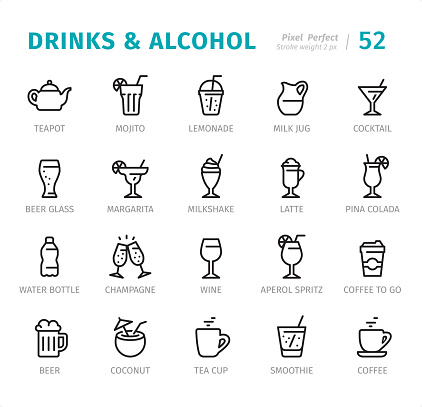 Drinks and Alcohol - Pixel Perfect line icons with captions