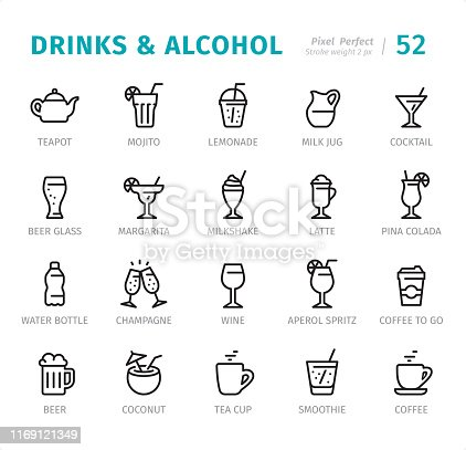 Cocktails and Alcohol Drinks - 20 Outline Style - Single line icons with captions / Set #52 / Designed in 48x48pх square, outline stroke 2px.  First row of outline icons contains: Teapot, Mojito, Lemonade, Milk Jug, Cocktail;  Second row contains: Beer Glass, Margarita, Milkshake, Latte, Pina Colada;  Third row contains: Water Bottle, Champagne, Wine, Spritz, Coffee to go;  Fourth row contains: Beer, Coconut, Tea Cup, Smoothie, Coffee.   Complete Signico collection - https://www.istockphoto.com/collaboration/boards/VT_7sDWo80OLh7foVxchBQ