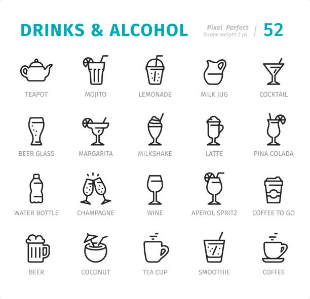 illustrazioni stock, clip art, cartoni animati e icone di tendenza di drinks and alcohol - pixel perfect line icons with captions - aperitivo