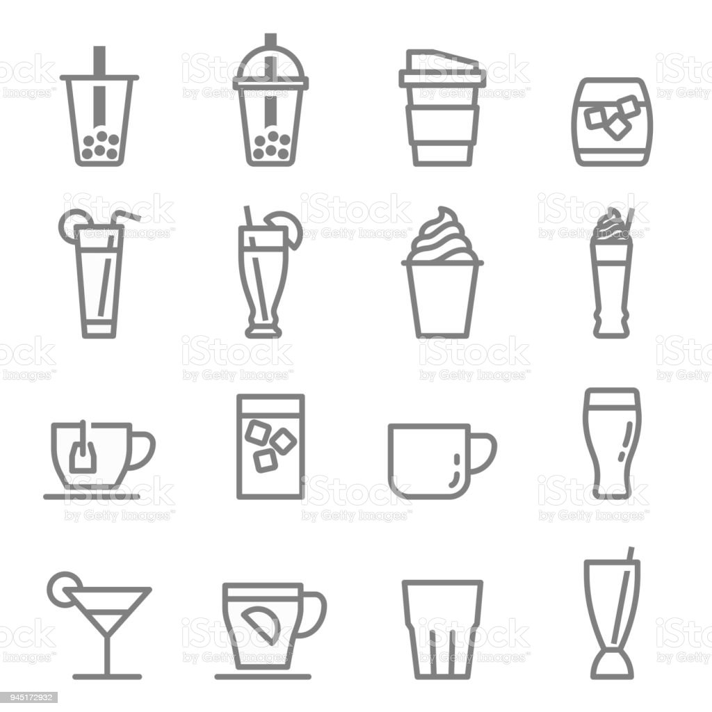 Drinks and Beverages icons vector art illustration