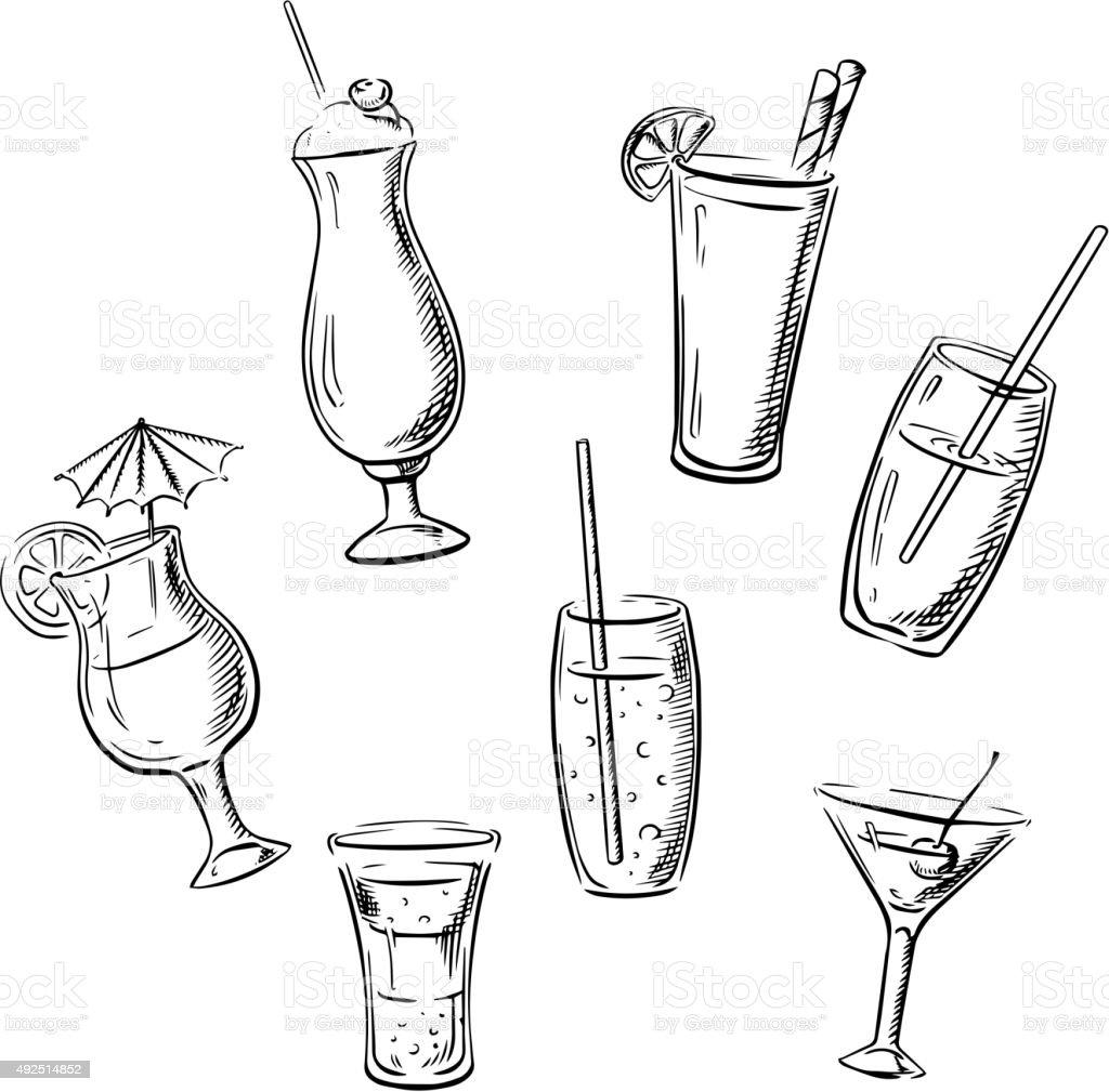 Bevande, cocktail e bevande di schizzi - illustrazione arte vettoriale