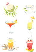 Various detailed drinks set, properly grouped with high resolution jpg. More Food and Beverage Series Lightbox