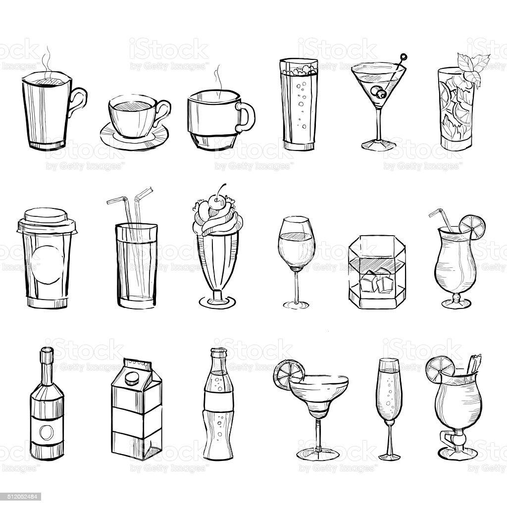 Drinks Doodle Set. Handdrawn Vector Illustration vector art illustration