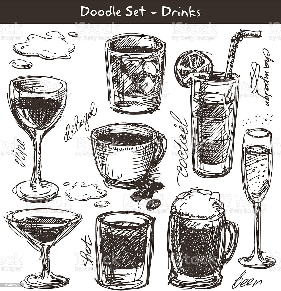 Drinks doodle royalty-free stock vector art