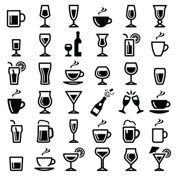 drinks icon - alcohol drink silhouettes stock illustrations