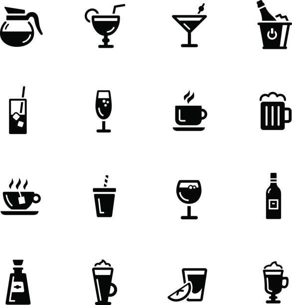 illustrazioni stock, clip art, cartoni animati e icone di tendenza di drinks icons // black series - aperitivo