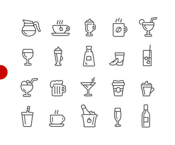 illustrazioni stock, clip art, cartoni animati e icone di tendenza di drinks icons // red point series - aperitivo