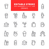 Drink, alcohol, editable stroke, outline, icon, icon set, cocktail, beer, tea, coffee