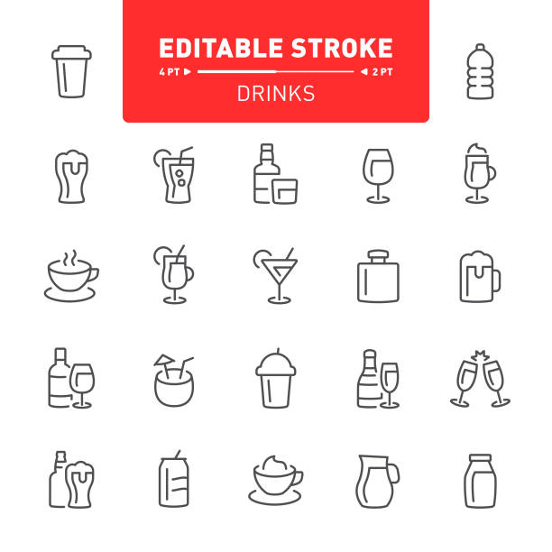 Drinks Icons Drink, alcohol, editable stroke, outline, icon, icon set, cocktail, beer, tea, coffee alcohol drink icons stock illustrations