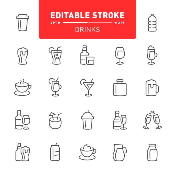 illustrazioni stock, clip art, cartoni animati e icone di tendenza di drinks icons - bottle soft drink
