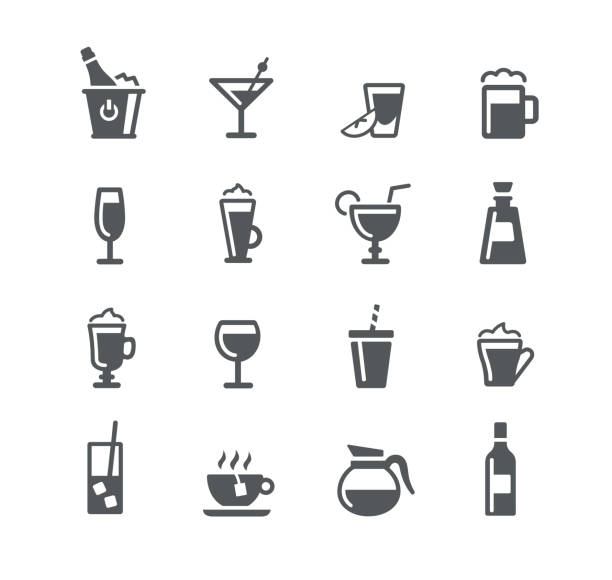 illustrazioni stock, clip art, cartoni animati e icone di tendenza di drinks icons - aperitivo