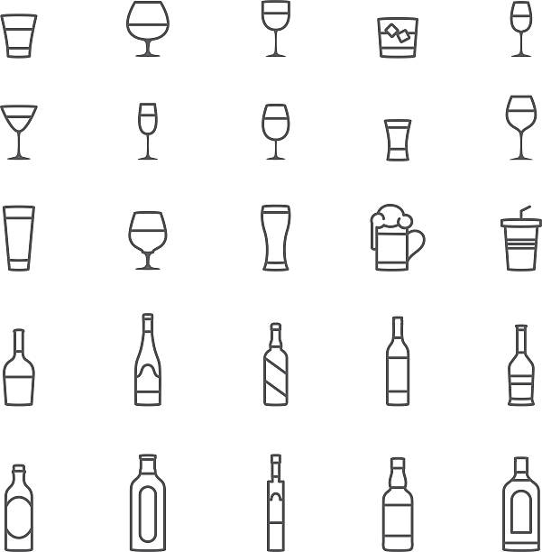 Drinks Icons Drink, alcohol, icon, icon set, cocktail, beer. alcohol drink symbols stock illustrations