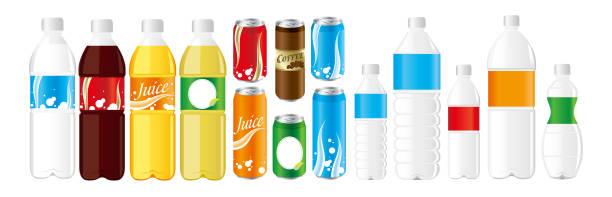 illustrations, cliparts, dessins animés et icônes de boissons boîtes de jus bouteille d'animal de compagnie set vector - infusion pamplemousse