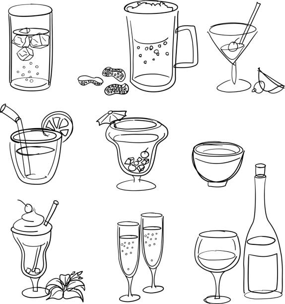 Drinks Line Art Set Zip includes 300 dpi JPG, Illustrator 8, Illustrator CS, and SVG files. Illustrator Files are layered for easy editing! alcohol drink drawings stock illustrations
