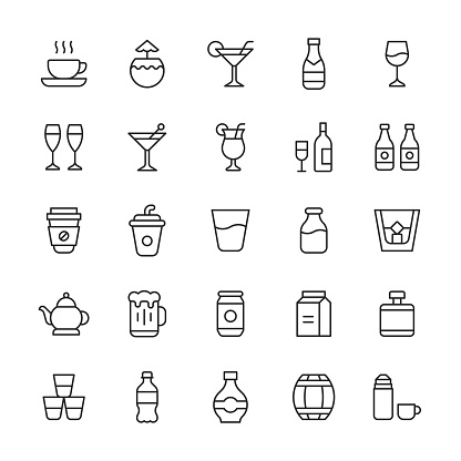 Drinks Line Icons. Editable Stroke. Contains such icons as Alcohol, Beer, Bottle, Cafe, Champagne, Cocktail, Coffee, Flask, Glass, Milk, Nightclub, Nightlife, Party, Social Event, Soft Drink, Sugar, Tea, Thermos, Vodka, Water, Whisky, Wine.