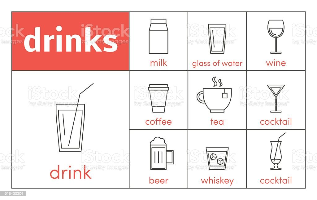 Drinks line icons vector art illustration