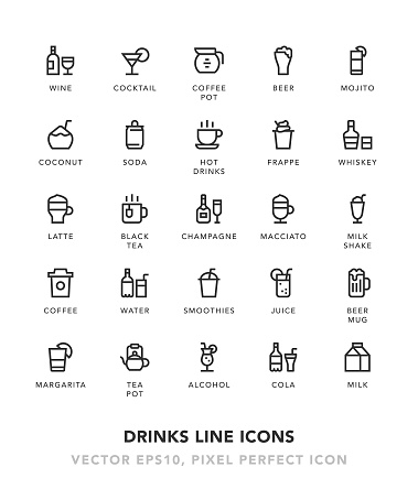 Drinks Line Icons Vector EPS 10 File, Pixel Perfect Icons.