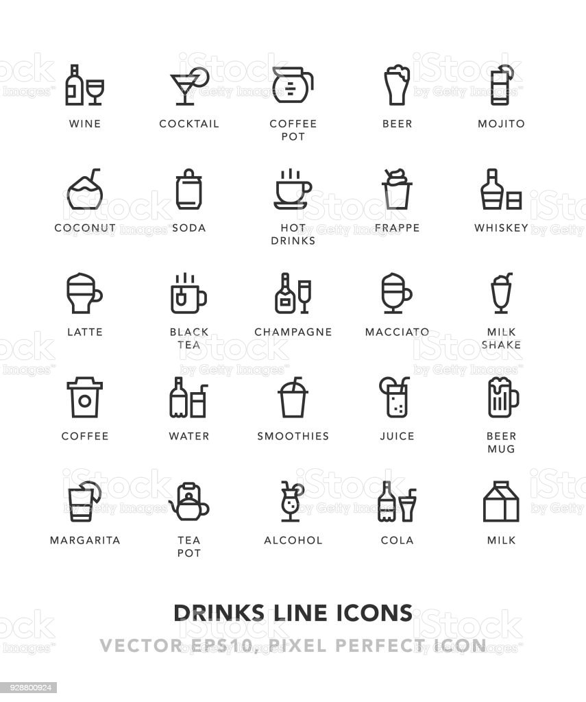 Drinks Line Icons vector art illustration