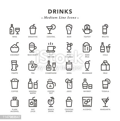 Drinks - Medium Line Icons - Vector EPS 10 File, Pixel Perfect 30 Icons.