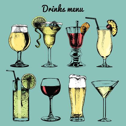 Drinks menu. Hand sketched cocktails glasses. Vector set of alcoholic beverages illustrations, beer, pina colada etc.