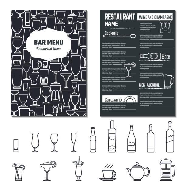 ドリンクメニューテンプレート - アルコール飲料点のイラスト素材/クリップアート素材/マンガ素材/アイコン素材