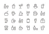 Drinks - Regular Line Icons - Vector EPS 10 File, Pixel Perfect 24 Icons.