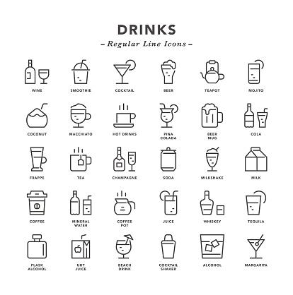 Drinks - Regular Line Icons