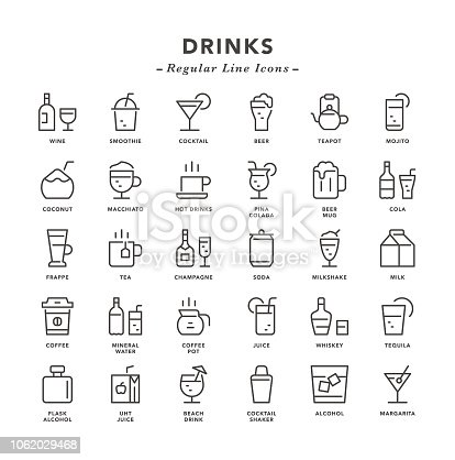 Drinks - Regular Line Icons - Vector EPS 10 File, Pixel Perfect 30 Icons.