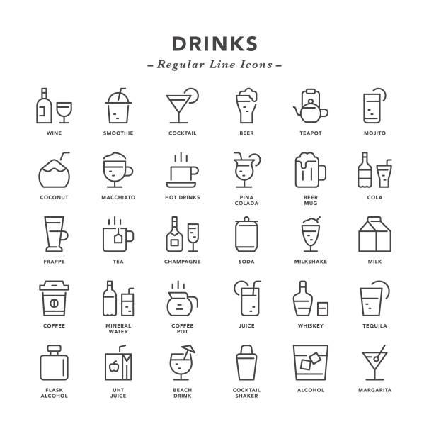 illustrazioni stock, clip art, cartoni animati e icone di tendenza di drinks - regular line icons - bibita