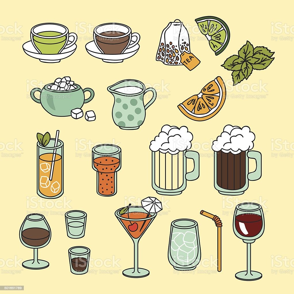 Drinks set royalty-free drinks set stock vector art & more images of alcohol