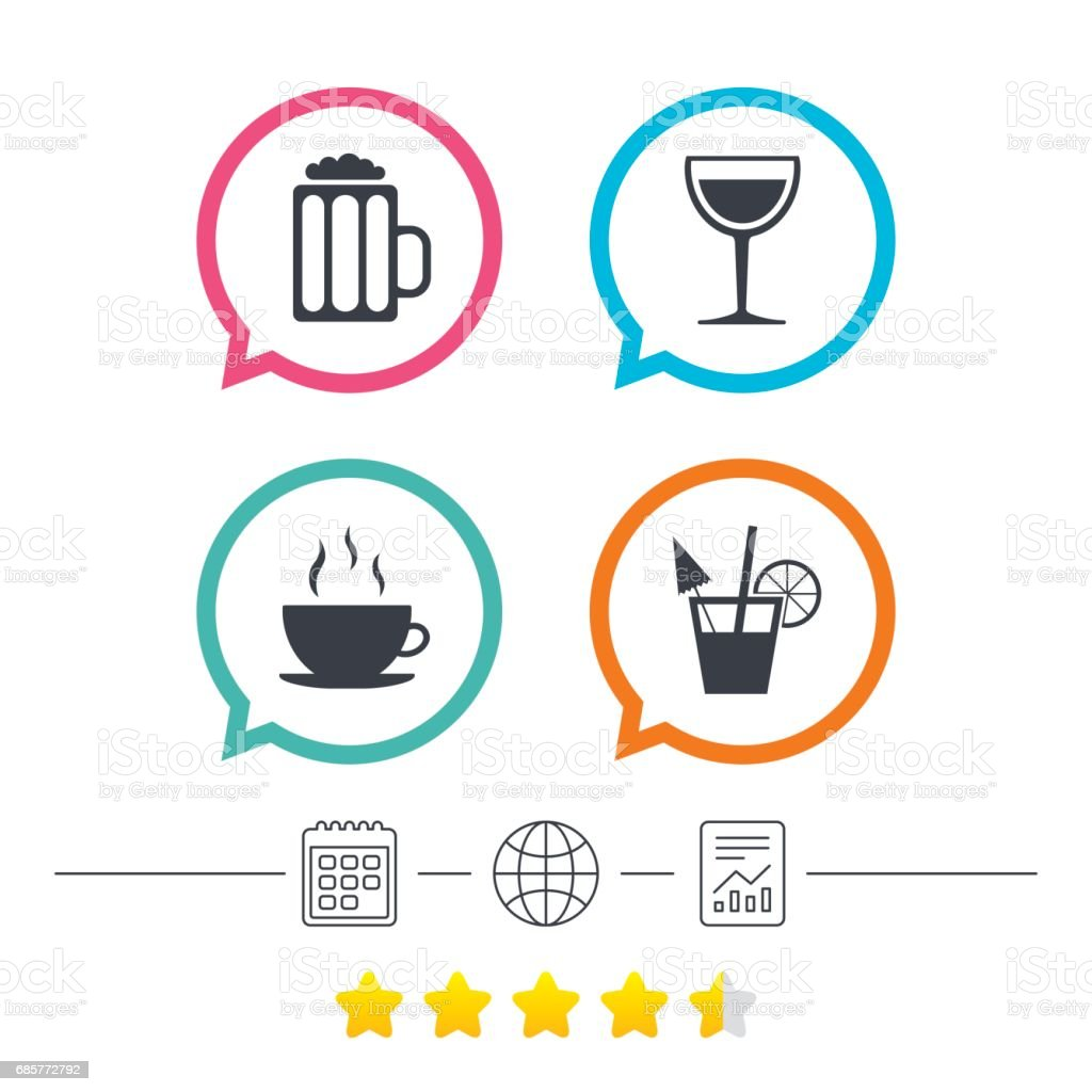 Drinks signs. Coffee cup, glass of beer icons. royalty-free drinks signs coffee cup glass of beer icons stock vector art & more images of alcohol