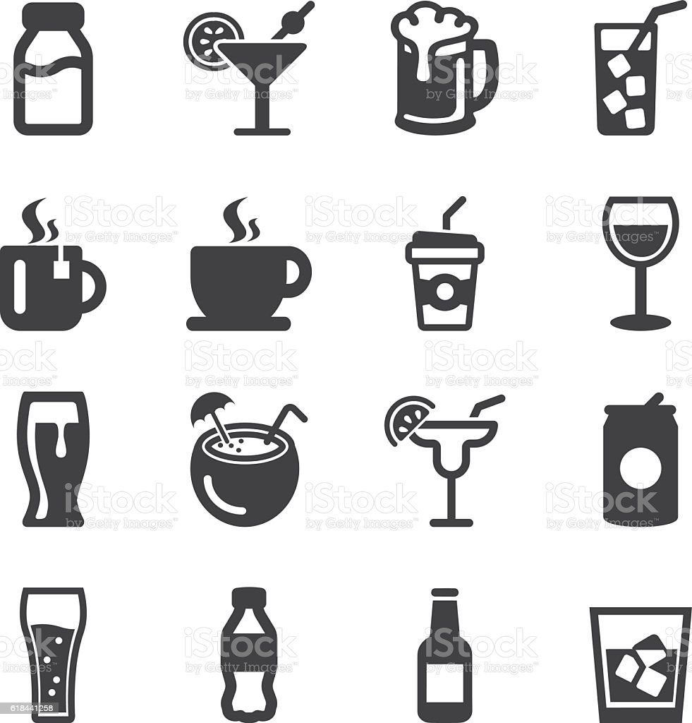 Drinks Silhouette icons | EPS10 vector art illustration