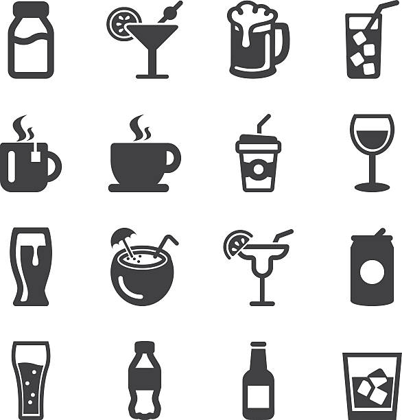 illustrations, cliparts, dessins animés et icônes de drinks silhouette icons | eps10 - café boisson