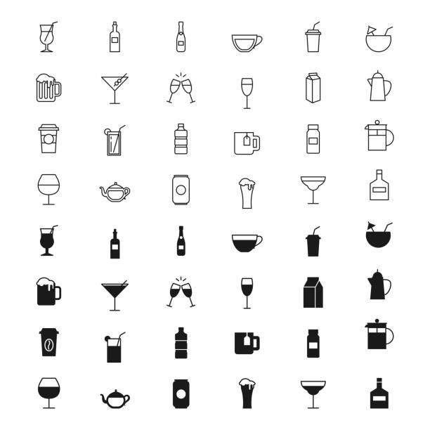 ilustrações de stock, clip art, desenhos animados e ícones de drinks silhouettes and outline icons set - refresco