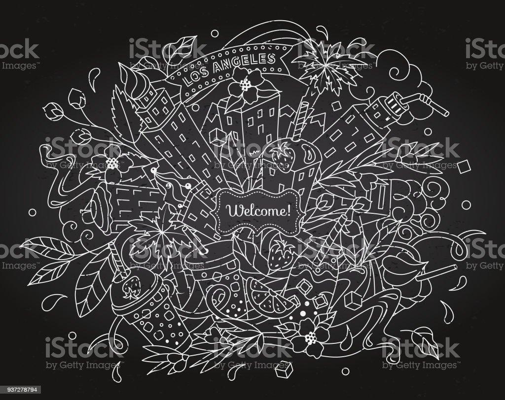 Drinks + skyscrapers. Detailed illustration on chalk board. Los Angeles city skyline line. Tea time doodle. Black + white vector art illustration