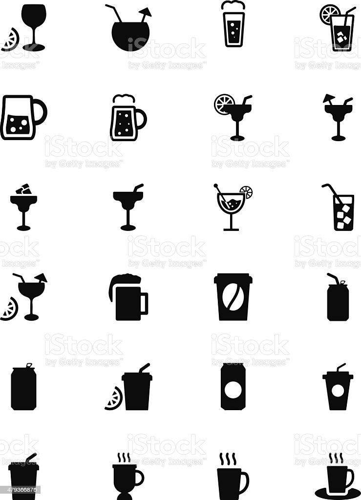 Drinks Solid Vector Icons 2 vector art illustration