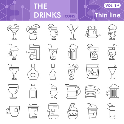 Drinks thin line icon set, beverage symbols collection or sketches. Alcohol drinks signs for web, linear style pictogram package isolated on white background. Vector graphics.