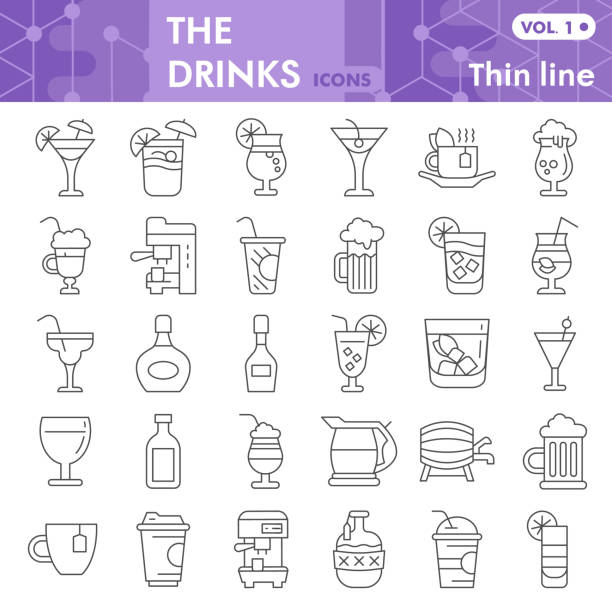 Drinks thin line icon set, beverage symbols collection or sketches. Alcohol drinks signs for web, linear style pictogram package isolated on white background. Vector graphics. Drinks thin line icon set, beverage symbols collection or sketches. Alcohol drinks signs for web, linear style pictogram package isolated on white background. Vector graphics alcohol drink symbols stock illustrations