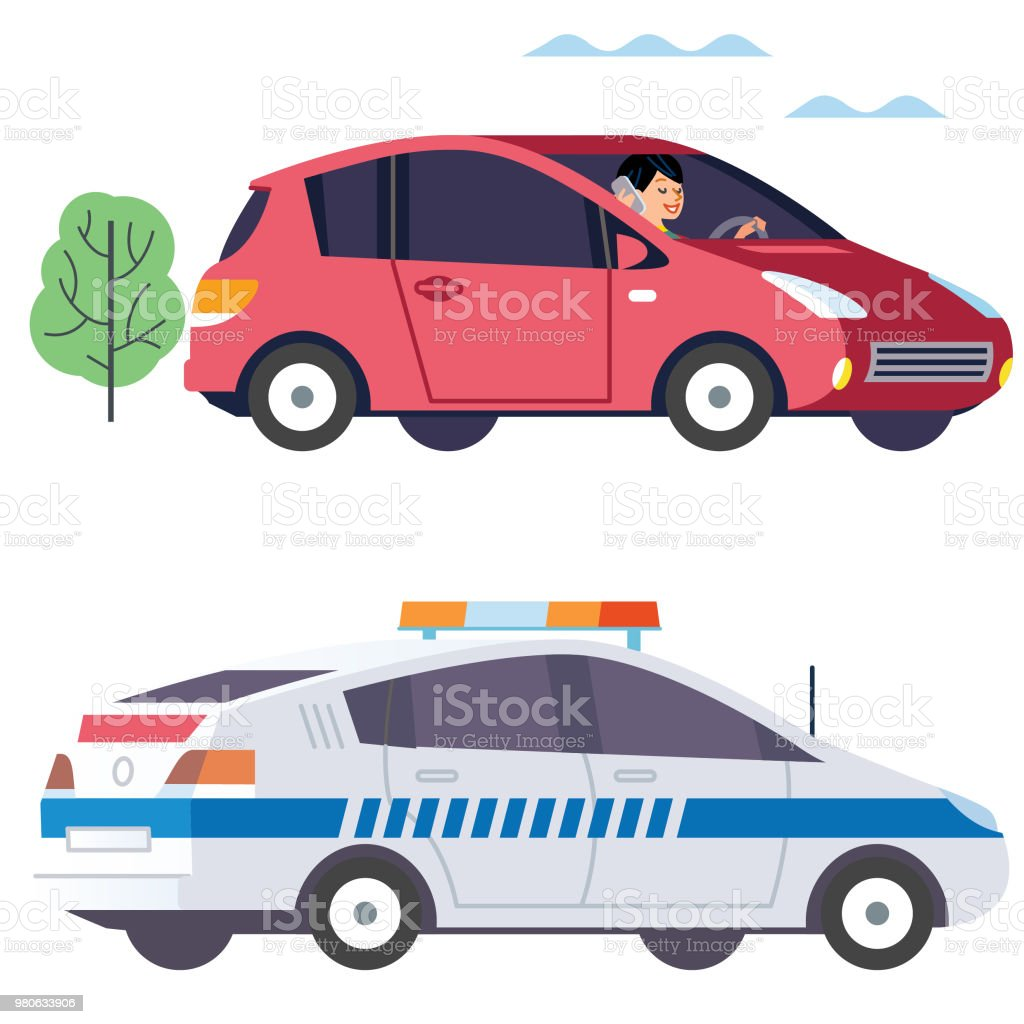 Drinving using a device and Cop car vector art illustration