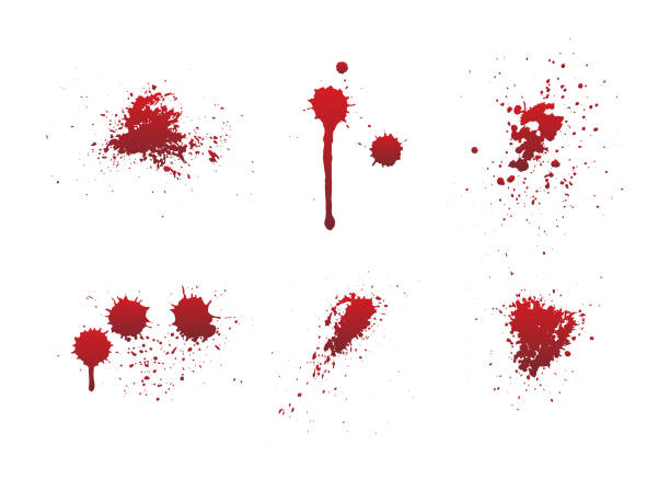 Dripping blood or red paint set isolated on white background. Dripping blood or red paint set isolated on white background. Halloween concept, ink splatter illustration. blood stock illustrations