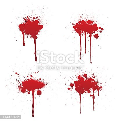 Dripping blood or red paint set isolated on white background. Halloween concept, ink splatter illustration.