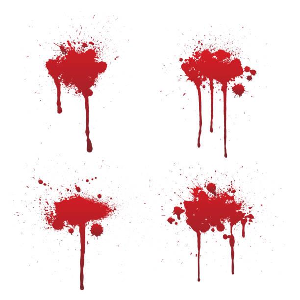 떨어지는 혈액 또는 빨간 페인트 세트 흰색 배경에 고립. - 흩뿌려진 stock illustrations