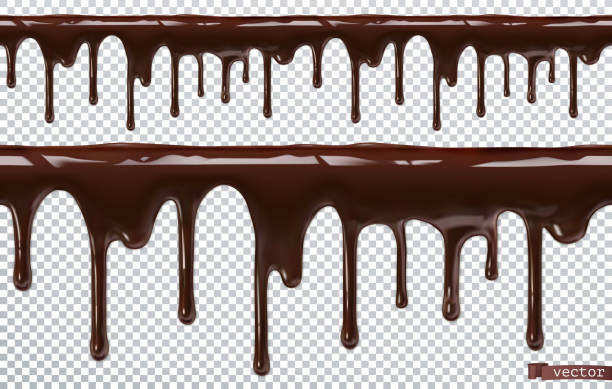 Dripping chocolate. Melt drip. 3d realistic vector, seamless pattern Dripping chocolate. Melt drip. 3d realistic vector, seamless pattern melting stock illustrations