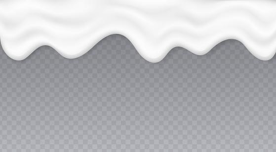 Dripping creamy liquid, yogurt or melted ice cream splash, white cream texture flow isolated on transparent background