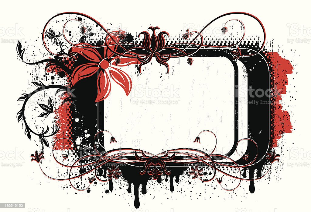 Dripping floral tag royalty-free stock vector art