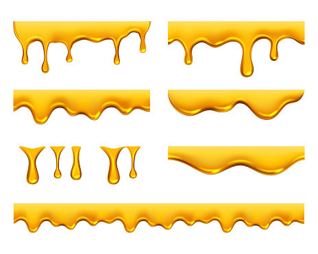Dripping honey. Golden yellow realistic syrup or juice dripping liquid oil splashes vector template