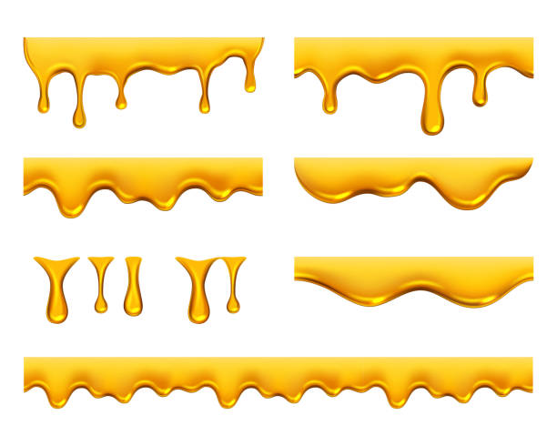 illustrazioni stock, clip art, cartoni animati e icone di tendenza di dripping honey. golden yellow realistic syrup or juice dripping liquid oil splashes vector template - miele dolci